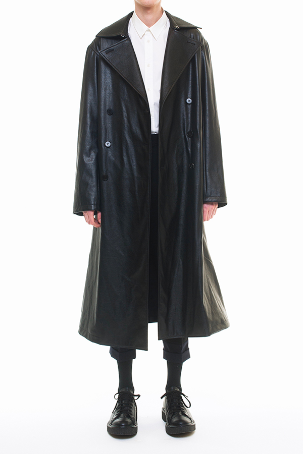 NEW ARRIVAL DRESSEDUNDRESSED FALL WINTER 2016 COLLECTION  DOUBLE BREASTED FAUX LEATHER TRENCHCOAT