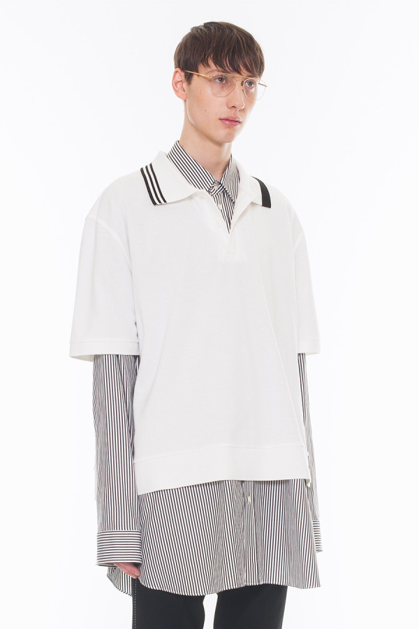 NEW ARRIVAL DRESSEDUNDRESSED FALL WINTER 2017 COLLECTION  STRIPE SPLIT COLLAR XXL POLO SHIRTS